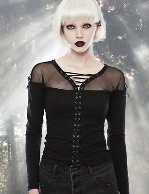 Gothic EMO Punk Rave Top Bluse Shirt Mesh - Baumwolle Mesh Kostüme