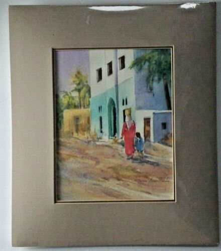 Patricia Barr Clarke, Damanhur, Egypt, Colorado, watercolor, figures, 14x12