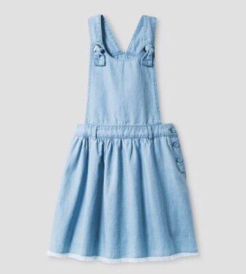 NEW Girls Dress CAT & JACK Blue Chambray Jumper Size M Apron Style Soft CUTE