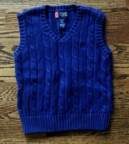 CHAPS BOYS 4 4T NAVY BLUE CABLE KNIT SWEATER VEST
