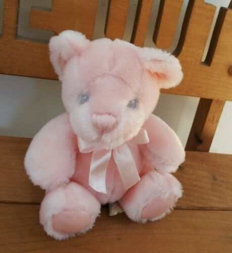 First & Main Bear Pink Rattle plush lovey stuffed animal baby toddler pastel
