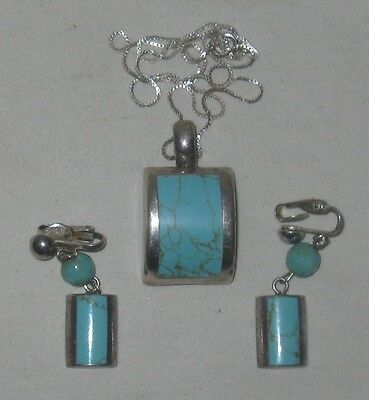 Vintage Taxco Mexico Sterling Silver Inlaid Turquoise Pendant & Earrings Set EUC