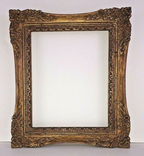 Antique Carved Wood Gold Tone Picture Frame, Beautiful!