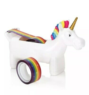 Tape Dispenser White Unicorn Desktop Tabletop W 2 Rolls Rainbow Tape