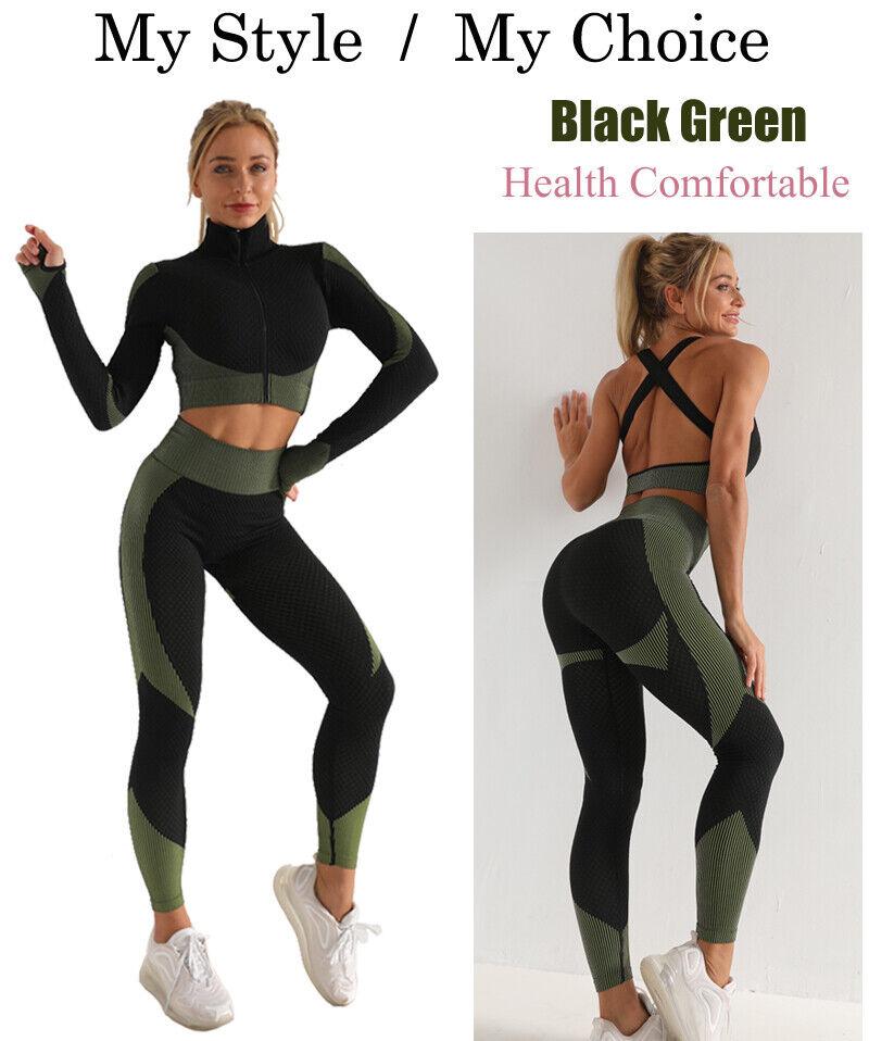 Fitness Women Long Sleeve Yoga Set Zipper Top Sport Suit Bra Workout Clothes Gym