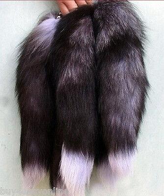"""10pcs/Lot Fox Tail Keychain Fur Tassel Bag Tag Charm 16""""-18"""" Handbag Accessory"""