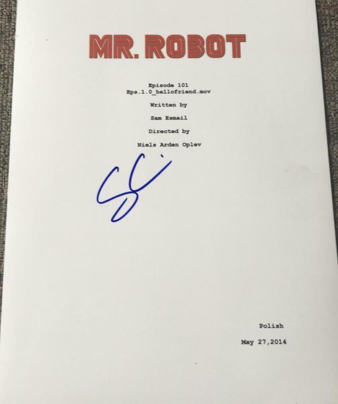 "SAM ESMAIL SIGNED AUTOGRAPH ""MR. ROBOT"" VERY RARE PILOT EPISODE SCRIPT COA"