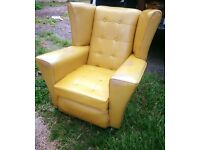 Retro Vintage Danish Wing Back Leather Lounge Chair Armchair