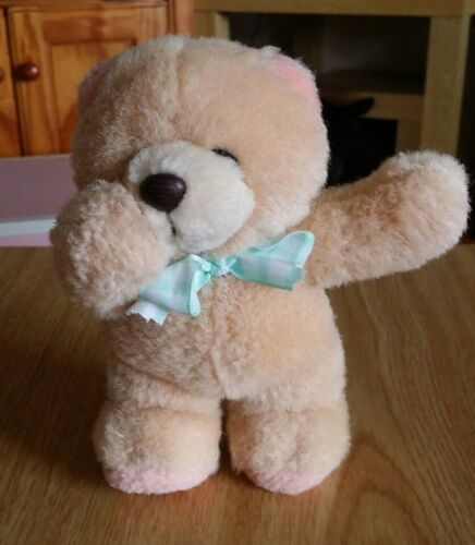 Forever Friends Small Standing Plush Bear With Green Gingham Bow