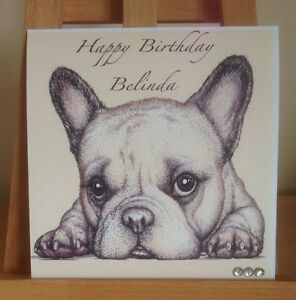 Handmade Personalised French Bulldog Birthday / Mothers Day Card