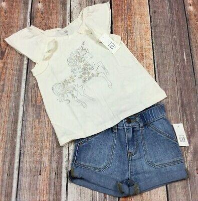 Baby Gap Girls 18-24 Months Outfit. Sparkly Unicorn Shirt & Denim Shorts. - Girls 18 Months Denim