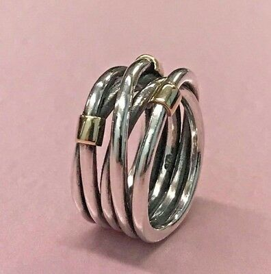 PANDORA | 14K GOLD STERLING SILVER ROPE RING *NEW* 190383 RETIRED RARE 925 ALE