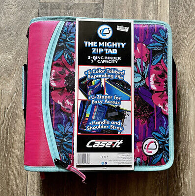 Case-it The Mighty Zip Tab 3 Ring Binder 3 Inch Capacity Expanding File New