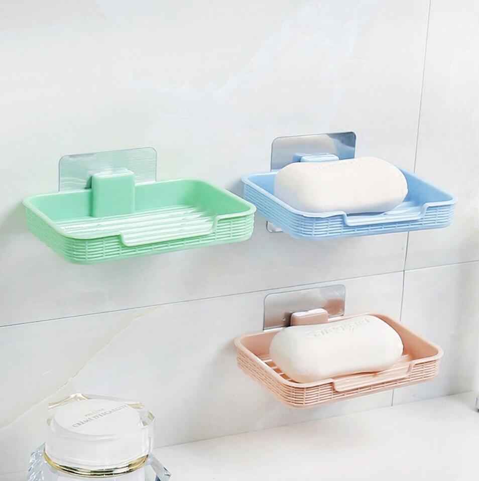 Plastic Suction Wall Bathroom Shower Soap Dish Basket Tray Box Holder New