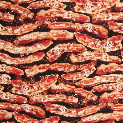 Food Fabric - Sizzling Bacon Stripe Black - Timeless Treasures - Bacon Costume Kids