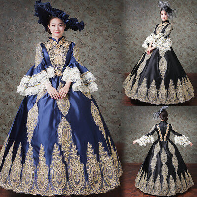Victorian Edwardian Fancy Dress Women Costume Medieval Ball Gown Theater + Hat