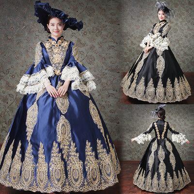 Victorian Edwardian Fancy Dress Women Costume Medieval Ball Gown Theater + Hat - Medieval Fancy Dress Women