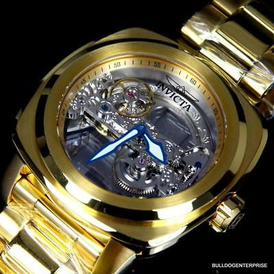 Invicta Aviator Ghost Bridge Mechanical Skeleton 18kt Gold Plated 48mm Watch New
