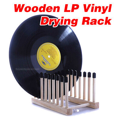 "LP Vinyl Record Drying Rack Pine Wooden Dryer Storage Frame Fit 7"" or 12"" Album"