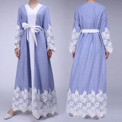 Muslim Dress Women Ladies Lace Long Sleeve Abaya Jilbab Full Length Maxi Dresses