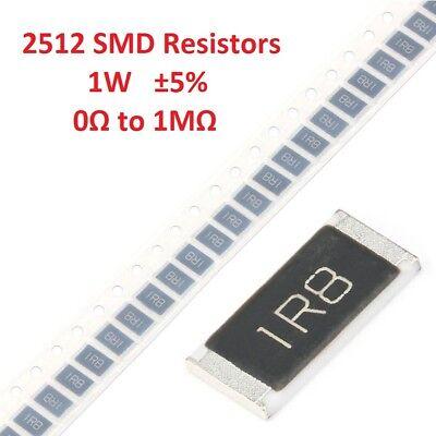 10pcs 1w 2512 Smdsmt Chip Resistors 5 0r 3.3r 39r 360r 5.1kr 470kr To 1mrohm