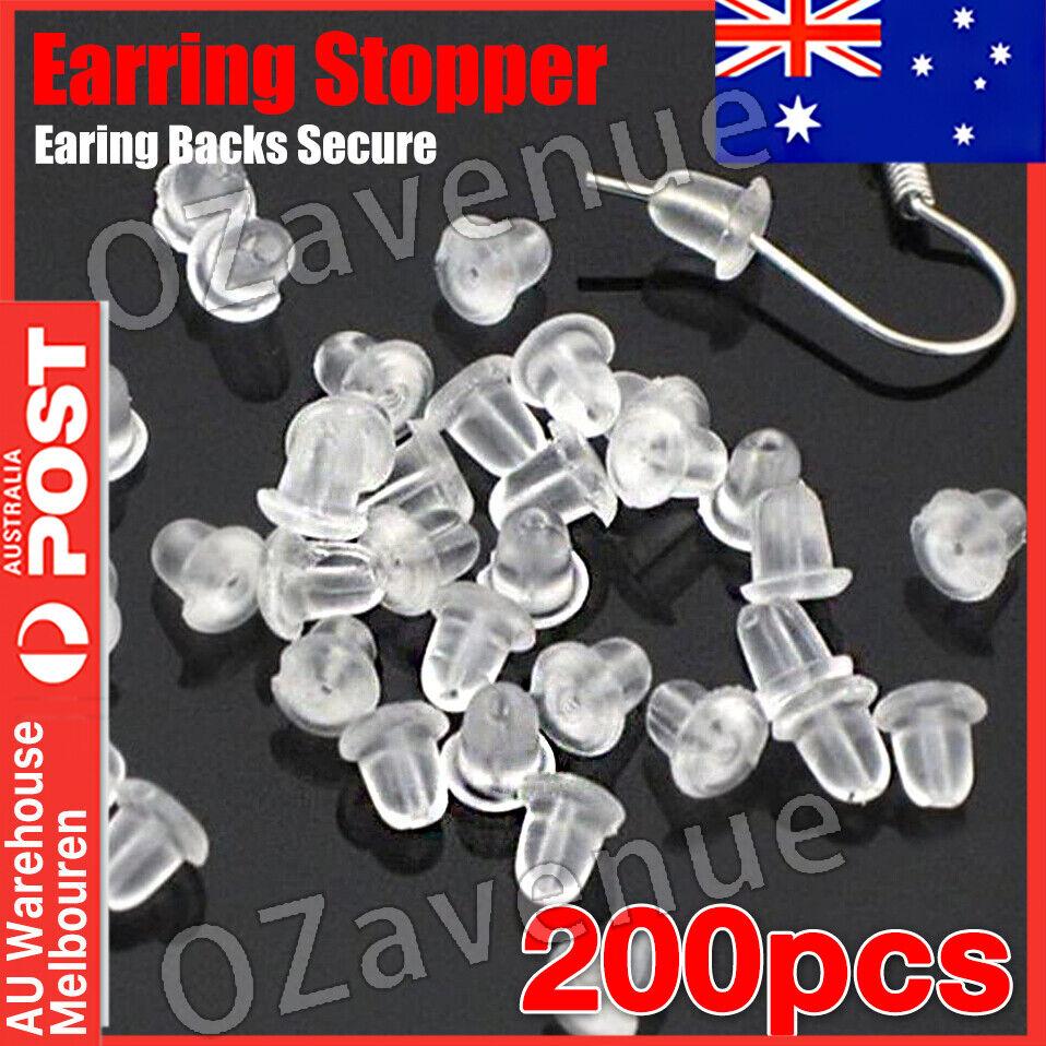 Jewellery - 200x Plastic Rubber Earring Back Backs Backings Bullet Clutch Stoppers Findings