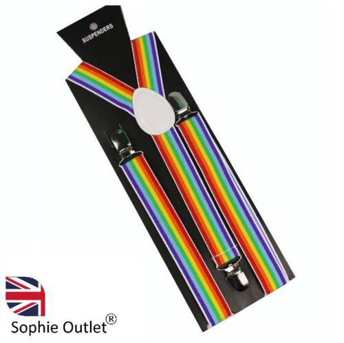 Rainbow Adjustable Braces Clip On Slim Suspenders Unisex Men Ladies Dress Lgbt