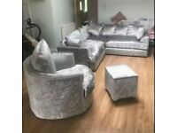 Brand New Chicago Crushed Velvet 3+2 Seater Corner Sofa Set With Swivel Chair - Fast 2 Man Delivery