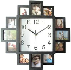 FAMILY LOVE PICTURE WALL CLOCK 12 MULTI PHOTO MODERN APERTURE FRAME HOME DECOR