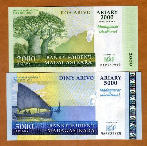 SET Madagascar, 2000;5000 Ariary, 2007, P-93-94, UNC > Commemorative