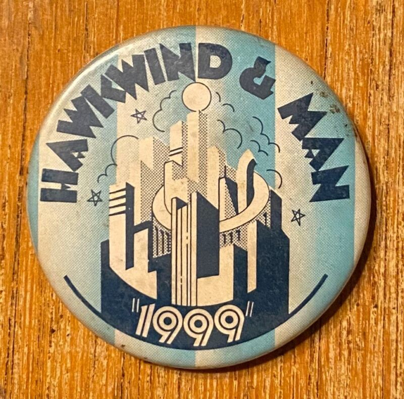 HAWKWIND & MAN The 1999 Party Tour 1974 US Concert BUTTON Prog VG+ Vintage