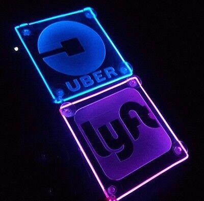 Uber Lyft Sign Rideshare Car Acrylic Engraving Led Beautiful Glow New Logo