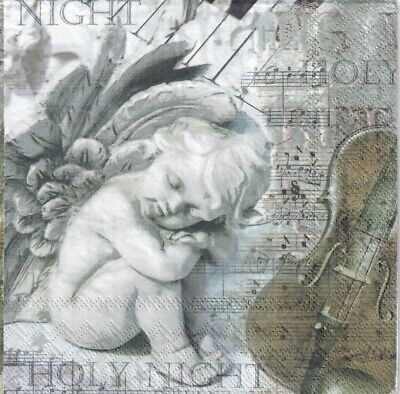 4 Single paper decoupage napkins. Vintage design. Sweet angel, Silent nigh  -928