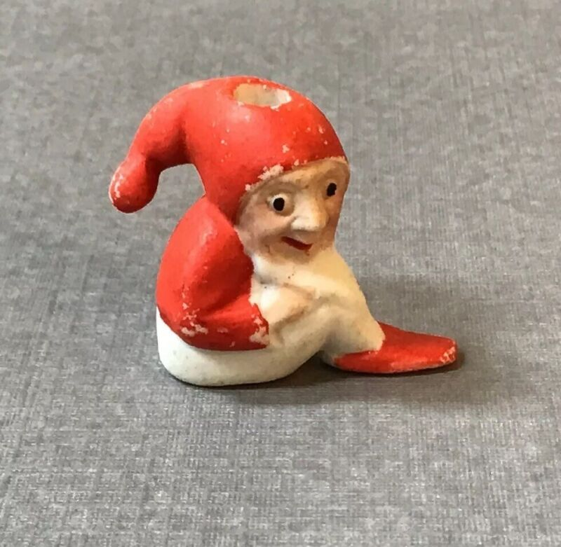 Antique German Elf Gnome Cake Topper Candle Holder Snow Baby