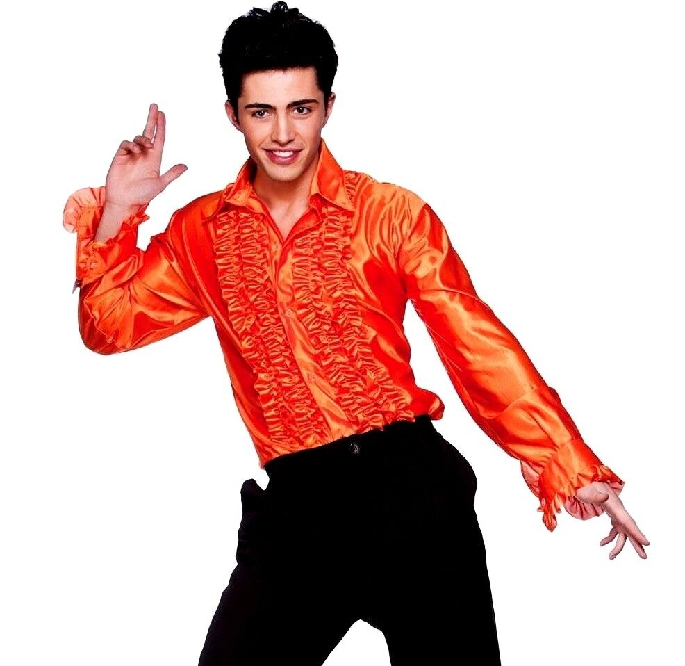 Adult RED DISCO RUFFLE SHIRT Boogie 70s Fancy Dress Costume Fever Mens Male 1970