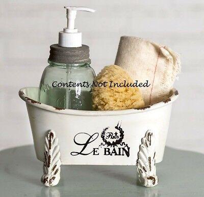 Clawfoot Bathtub Caddy - Chippy White Mini Clawfoot Bathtub French Country Distressed Storage Chic LeBain