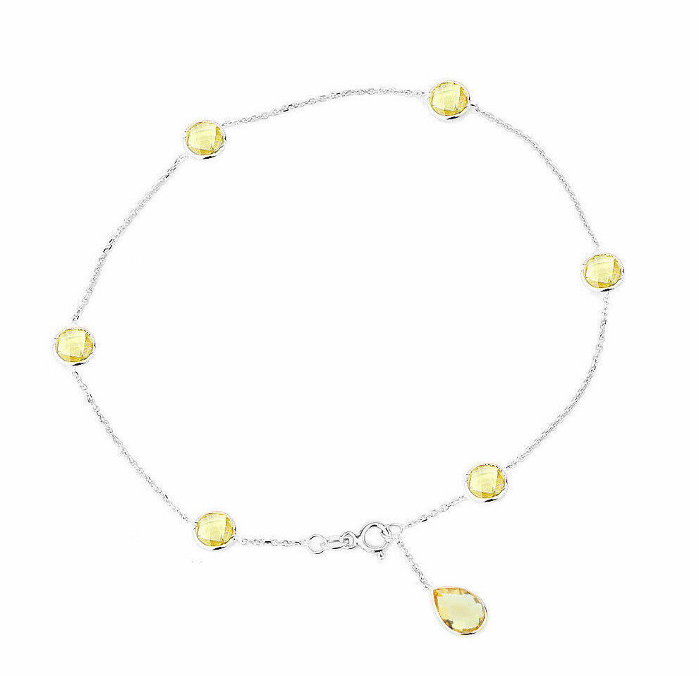 14K Yellow Gold Anklet With Lemon Topaz Amethyst And Blue Topaz Drop 9.5 Inches
