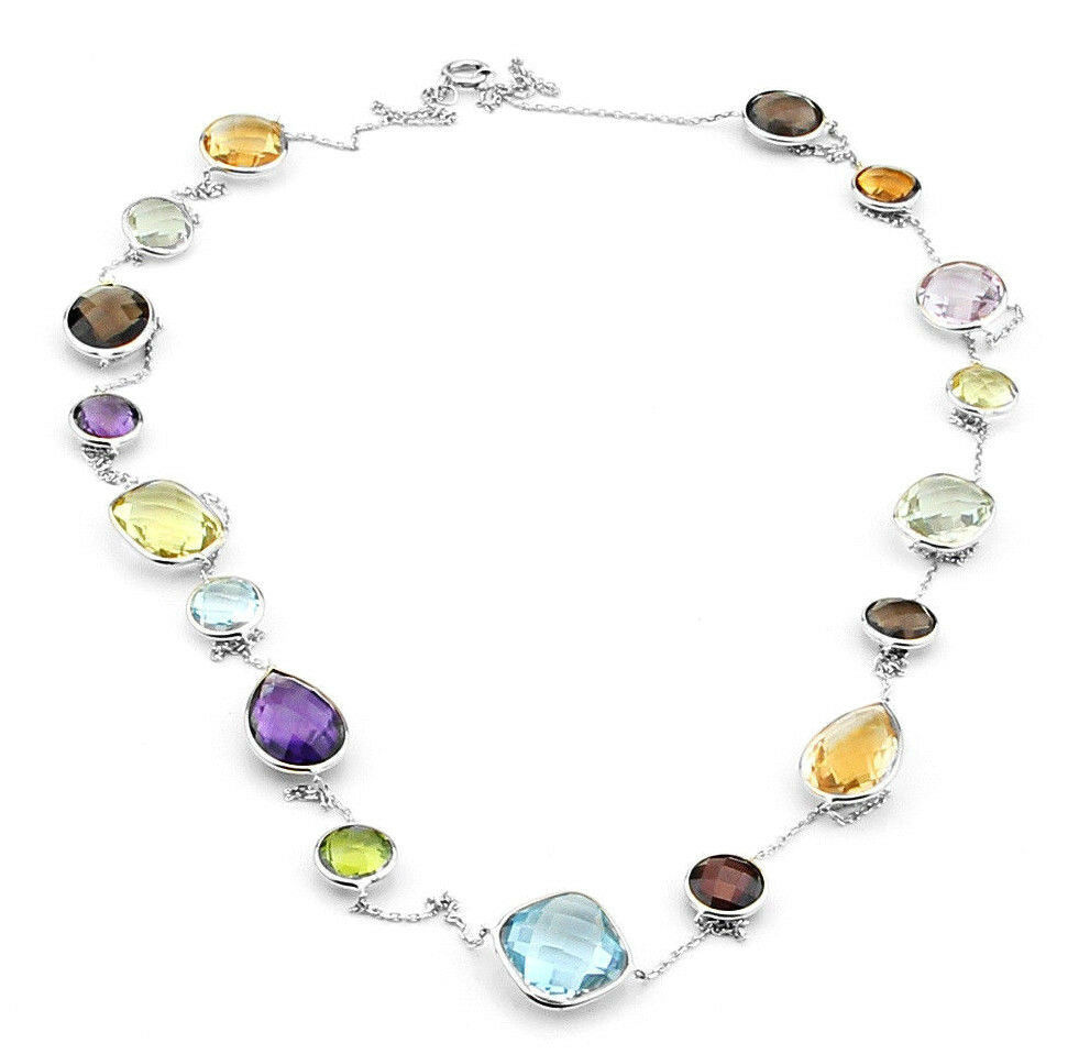 14k White Gold Colorful Multi Shaped Gemstone Necklace 36 Inches Ebay