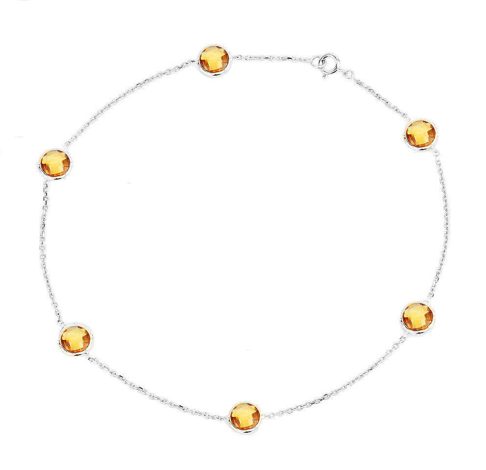14K White Gold Anklet With Round Shape Clear Quartz 11 Inches