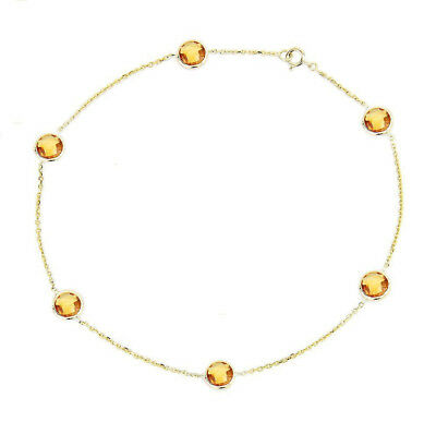 14K Yellow Gold Anklet Bracelet With Citrine Gemstones 9 Inches