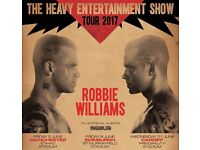 ROBBIE WILLIAMS TICKETS X 2, 2nd June 2017, Manchester. Pitch Standing/unreserved level 1 seating