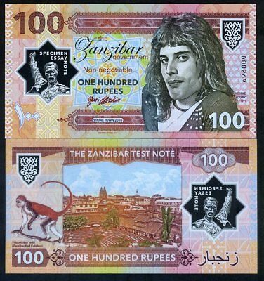 Zanzibar Tanzania 100 Rupees 2018 Private Clear Window Polymer - Freddie Mercury