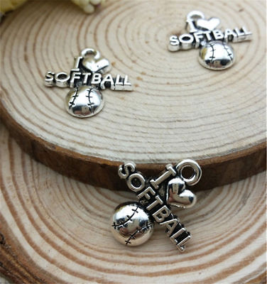 Mixed Set of 6 New SOFTBALL Charms Tibet Silver Alloy ONE EACH shown Free Ship! (Softball Charms)
