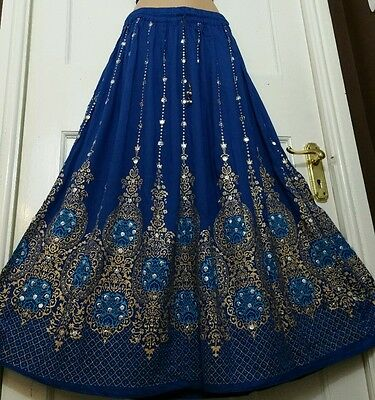 Ladies Indian Boho Hippie Gypsy Party Long Sequin Skirt Rayon ROYAL BLUE (8-16)