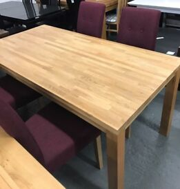 High retail oak dining table with 4 matching fabric chairs
