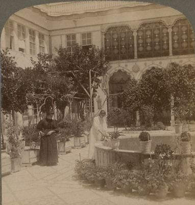 Palestine. The Inner Court of a Damascus Home, Syria. Underwood Stereoview
