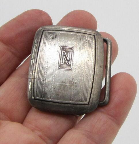 Estate Vintage Elegant Sterling Silver Hickok Initial N 20.2 Gram Belt Buckle