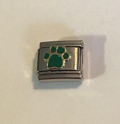 Dog Puppy Paw Print - Green - Gold Tone Trim 9mm Italian Charm Link For Bracelet](Dog Charms For Bracelets)