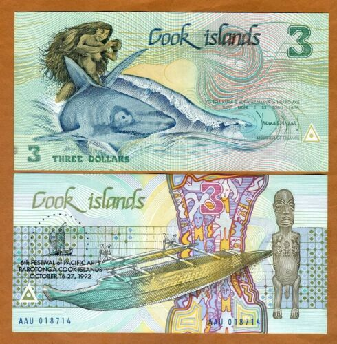 Cook Islands, $3, 1992, Naked Ina, P-6, aUNC > Commemorative