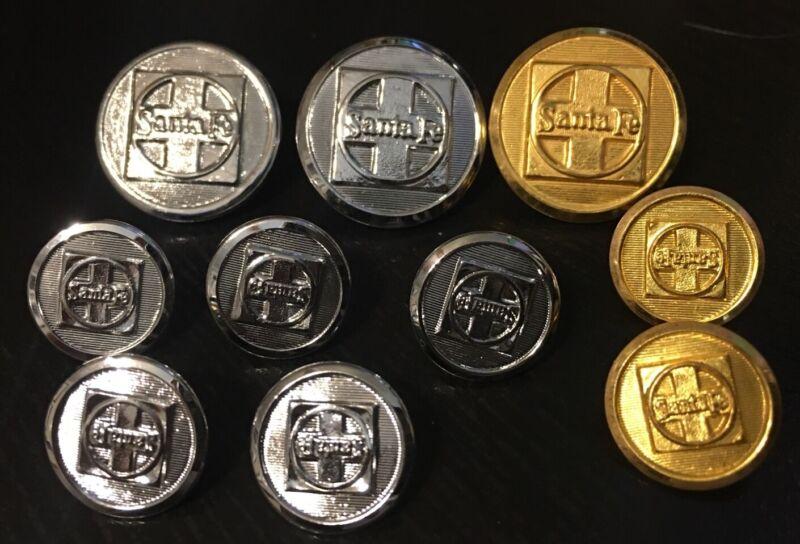 10 Santa Fe Railroad uniform buttons , 7 chrome and 3 brass